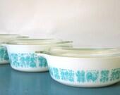 Vintage Pyrex Casserole Set with Lids, 3 Turquoise Butterprint --473, 472, 471