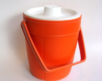 Vintage Orange Rubbermaid Ice Bucket Cooler -- Round, Vibrant and Funky