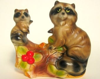 Vintage Mother Raccoon and Cub Figurine, Made in Japan, Woodland Kitsch