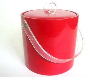 Vintage 1980s Red Ice Bucket, Patent Leather Acrylic Handles, Cherry Candy Apple Red