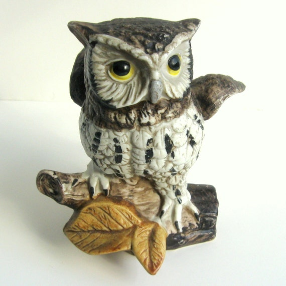 Vintage 1970s Owl Figurine -- Homco Ceramic Grey, White, Brown with Yellow Eyes