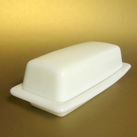 Vintage Pyrex White Covered Butter Dish - Undecorated - Matches Any Pattern, Opal Heat-Tempered Milk Glass 1/4 lb.
