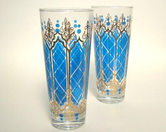 Mid-Century Blue & Gold Glass Tumblers, Set of 2, Swanky Vintage Barware