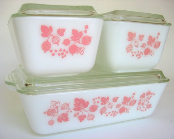 Vintage Pyrex Pink Gooseberry, 8-Pc Set of Refrigerator Dishes, Mother's Day Wedding Shower Gift Casserole Lids