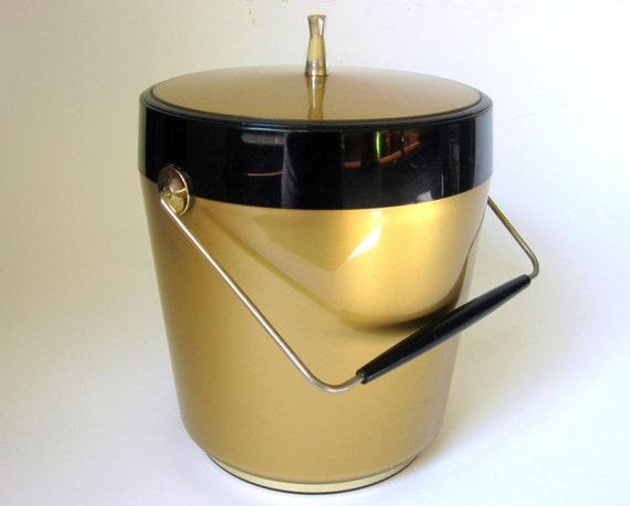 Black Friday Etsy 15% Off -- Mid-Century Gold Ice Bucket, Retro Bar Accessory 1960s/1970s