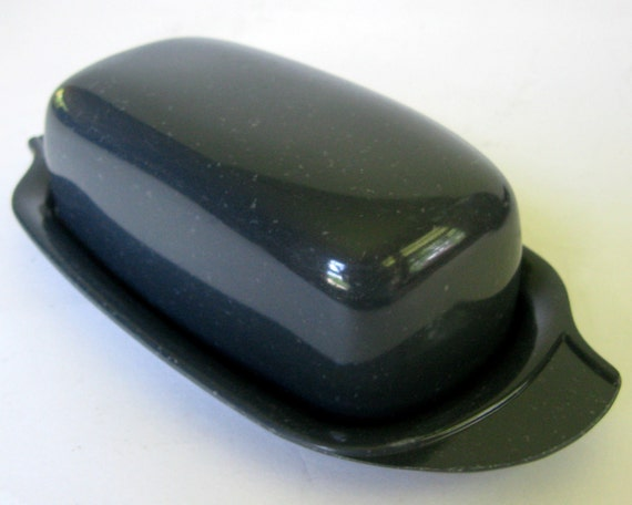 Vtg Boontonware Butter Dish Charcoal Gray Confetti with Lid, Black Speckled Boonton Ware Belle Melmac Melamine