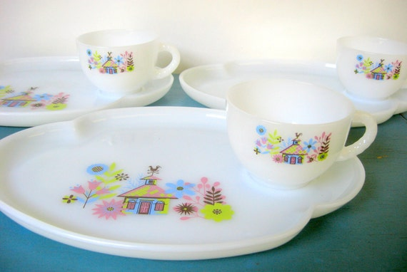 Federal Glass Snack Trays & Cups - 3 Sets of Milk Glass Trays and Mugs in Chalet Pattern