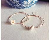 Gold Filled Maui Puka Shell Hammered Hoop Earrings