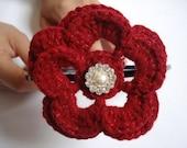 Crocheted Flower Headband, burgundy, Christmas Gift