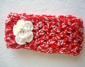 Red and White Hand Crocheted Headband / Earwarmer with Flower