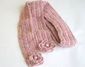 Women accessories, Chic Colourful Scarf, Women Scarf With Flower, mom gifts, gifts, pink sacarf, crochet sacarf. accesories.