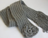Made to order! Wool Grey Scarf, For Women Scarf, Holiday gifts, neck warmer, Grey warm Scarf, knitting handmade scarves, Fall Winter Gifts