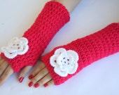 Dark Pink fingerless gloves with Cream flower, hand crochet  wool and acrilic gloves, fingerless