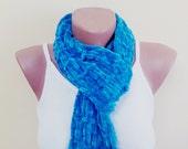 Valentines day gift, women accessories, blue scarf, handmade gift.velvet scarf, scarf, fashion,  for women, blue scarf