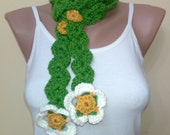 handmade flower scarf, spring fashion, women accessories, green and white, 2012 trend, crochet scarf, Chamomile