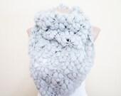 Grey soft mohair cowl, women scarf, 2012 trend, crochet shawl, new fashion scarf.