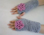 Gloves, Kids girl gloves,  holidays, grey gloves with pink flower, fingerless mittens, holiday gifts, girls gifts, gift idea - BloomedFlower