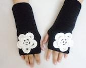 Crochet Gloves Women's Gloves Winter Gloves Gift İdeas Black Gloves  Fingerless Glove  For her gift Arm Warmers