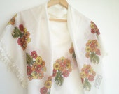 Cream, unique  Scarf, Women Fashion, Hand painted.