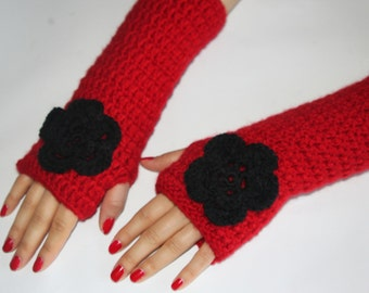 Mittens, Crochet Red Gloves, Handmade Fingerless Gloves, Women Arm Warmers, Fashion Accessories, Winter Gloves, For Her Gifts