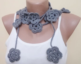 Daisy scarf Grey crochet scarf Cicle Scarf Womens Scarf Gift For Her necklace scarf  flower scarf  Fashion Accessories