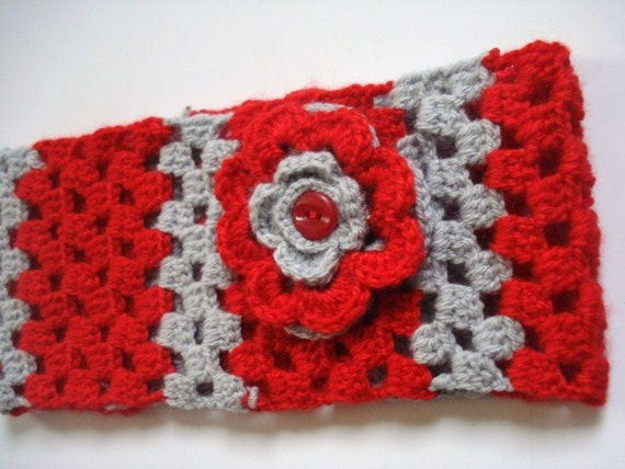 Red and Grey  Crocheted Headband, Earwarmer with Flower. women accessories, winter fashion, handmade gift.