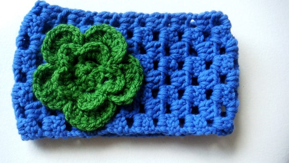 Woo Headband/Earwarmer  Blue and Green Headband,Cream Flower Crocheted Headband/Earwarmer with Flower ,