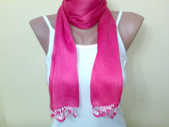 Women accessories, cotton, soft scarf, fuchsia scarf, crochet, dark pink, spring, for 4 season,  women fashion 2013 trend, New Fashion