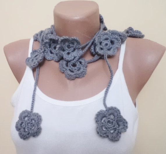 Daisy scarf, Crochet scarf, Cicle Scarf, Womens Scarves, Gift For Her, necklace scarf, Fashion Accessories, Handmade Gifts