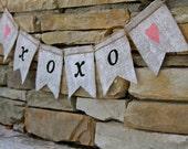 XOXO Burlap banner - Burlap banner-  Wedding - Photography prop