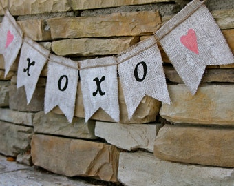 XOXO Burlap banner - Burlap banner-  Wedding - Photography prop