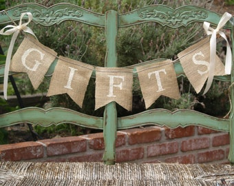 GIFTS burlap banner - Wedding Banner - Gifts Sign