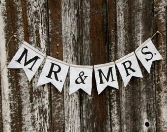 Mr. & Mrs. burlap banner - Wedding Banner - Photography prop
