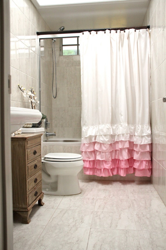 Items Similar To Pink Ruffles Shower Curtain 70 X72 Custom Ruffle Colors On Etsy