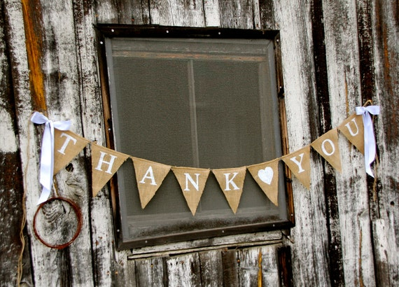 Thank You Burlap Banner, Thank you with heart banner,  Wedding celebration, Photography prop