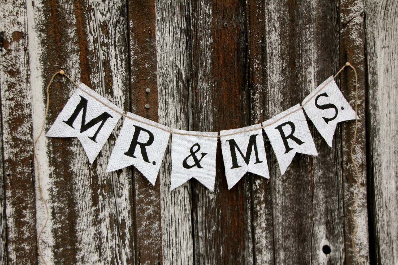 Mr. & Mrs. Burlap Banner Wedding Banner By Butterflyabove
