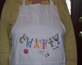 """Adult Machine Embroidered Apron """"Crafty"""""""