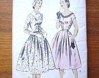 1950's Advance Pattern 7855 Full Skirt Dress Evening Day