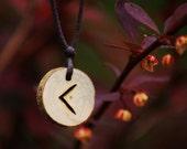 Birth Rune Pendant 'Kenaz' 13th September to 28th September, Pyro on Ash.