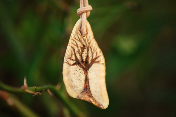 Fallow Deer Antler, Pyro Celtic Tree of Life Pendant on Natural Leather.