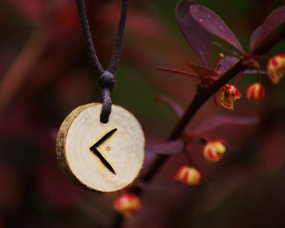 Birth Rune Pendant 'Kenaz' 13th September to 28th September, Pyro on Ash.