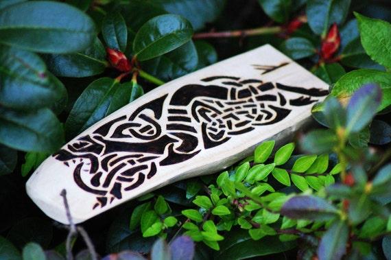 Celtic Hound, Burning on Driftwood with Fehu Rune.