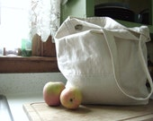White Linen Tote with Two Interior Pockets