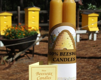 "Beeswax 6"" Taper Candles Set of 2 Handmade"
