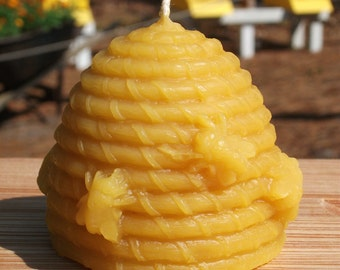 """Beeswax """"Skep"""" Beehive 2"""" Candle"""