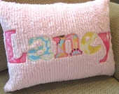 Personalized Name Pillow Applique on Chenille Toddler or Baby Accent Pillow 12 x 16