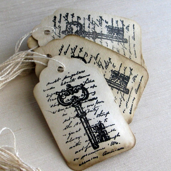 Reserved for Jessica - Skeleton key gift tags - 150 - Rustic wedding favor tags