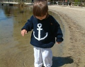 KNIT nautical summer ANCHOR SWEATER for child: baby or toddler boy and girl, cotton