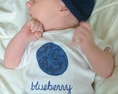 Blueberry GIFT SET - Bodysuit / Onesie and Hat - LONG Sleeve, Two Piece, Baby Girl or Boy  - Available in 18 months