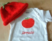 Tomato BODYSUIT / Onesie ONLY - Baby Girl or Boy, Short Sleeve - Available in NB, 3, 6, 9, 12, 18 and 24 months